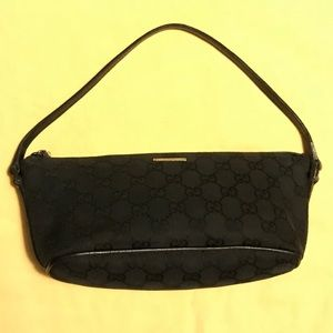 AUTH GUCCI Black Monogram GG Mini Bag Pouchette